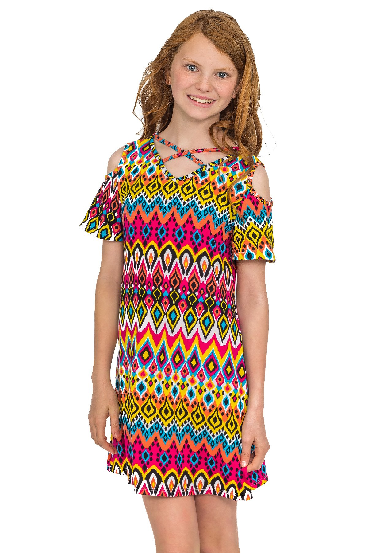 Truly Me Summer Dresses (Many Options), 4-6X, 7-16 (12, Hot Pink Multi)