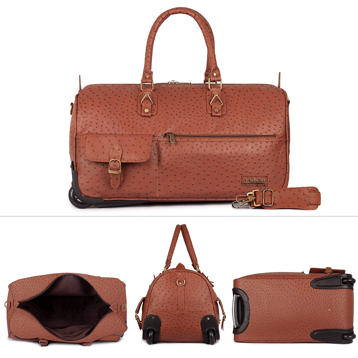 c3ca3e4d2796 The Clownfish Paramount 44 liters Mud Brown Faux Leather Travel Duffle  Trolley