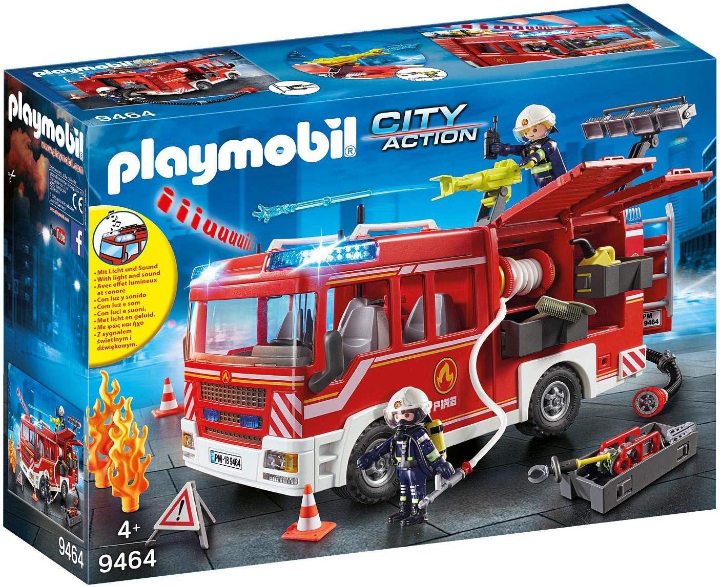 PLAYMOBIL City Action Camión de Bomberos con Luces y Sonido, a Partir de 4 Años (9464): Amazon.es: Juguetes y juegos