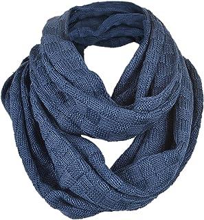 FORBUSITE Men Plaid Pattern Knit Winter Infinity Scarf E5031b (Dark Grey) E5031b-C-DGY