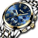 Herren Luxus Uhren Männer Chronograph Wasserdicht Datum Kalender Armbanduhr Analog Quarz Uhren Männlich Multifunktio Geschäft Lässig Edelstahl Uhr