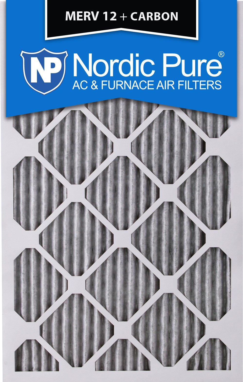 Nordic Pure 16x25x4 (3-5/8 Actual Depth) Pleated MERV 12 Plus Carbon AC Furnace Filter, Box of 1