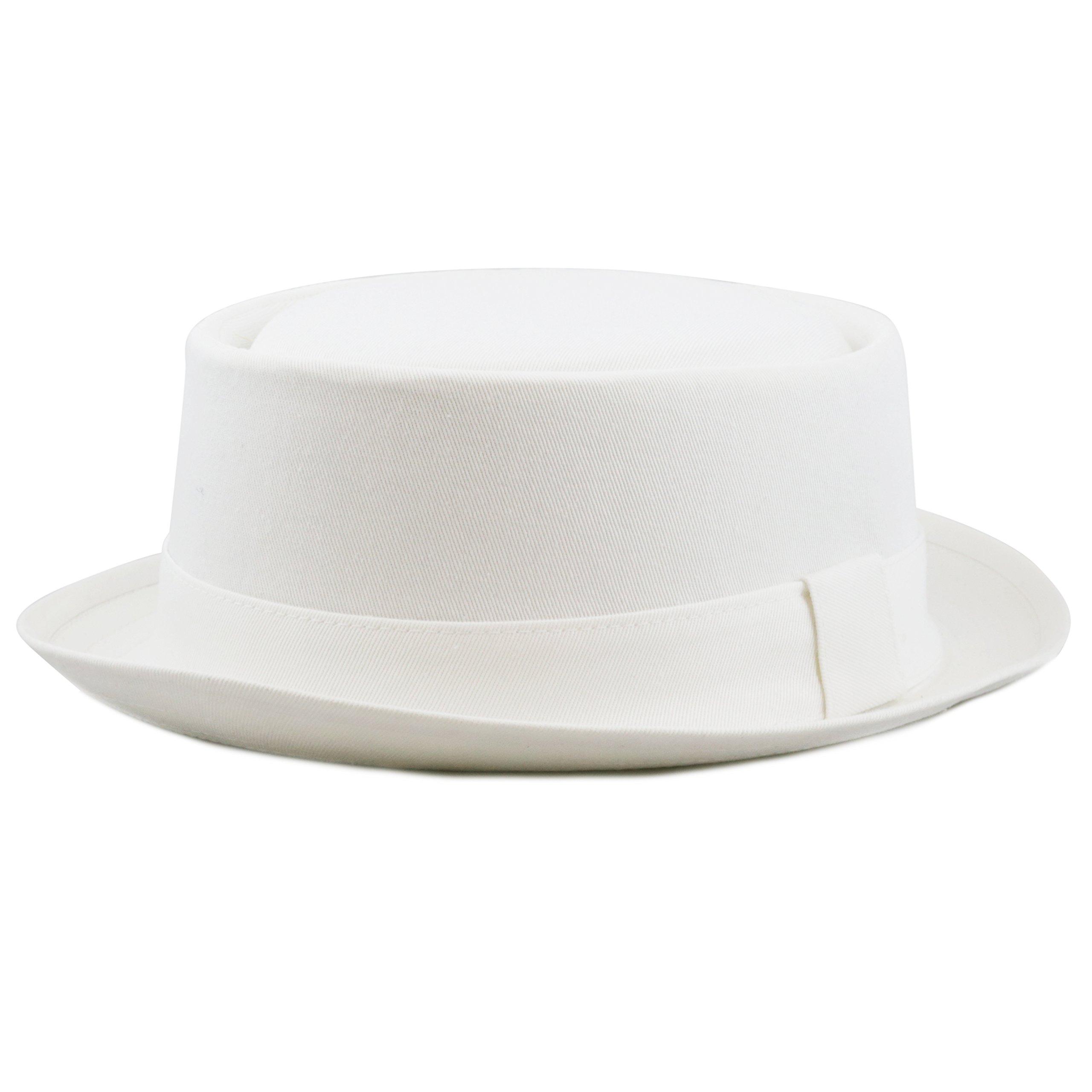 THE HAT DEPOT 1400f2091 100% Cotton Paisley Lining Premium Quality Porkpie Hat (S/M, White)
