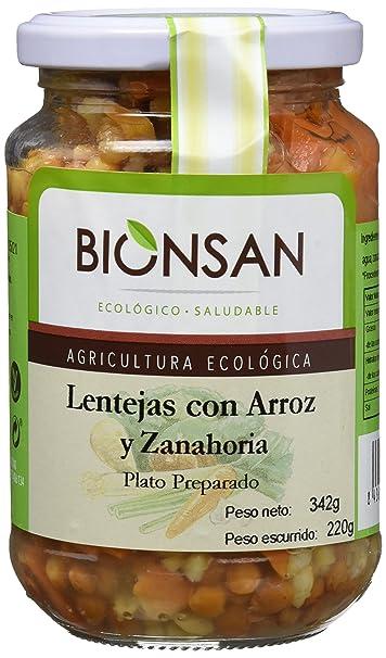 Bionsan Lentejas con Arroz Integral y Zanahoria - 6 Paquetes de 220 gr - Total: