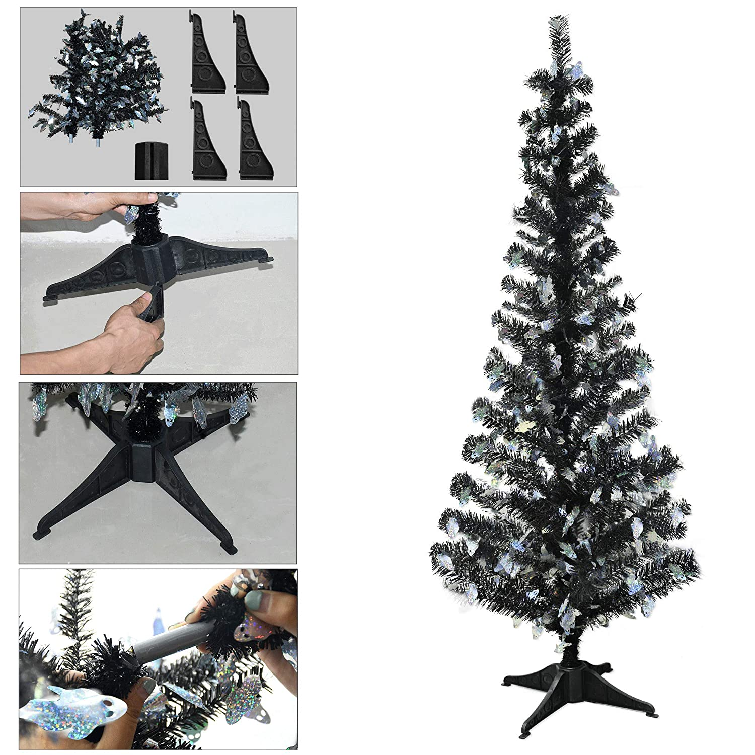 YuQi 5 Foot Gold Tinsel Tree,Artificial Christmas Tree with Joy Shimmering Sequins
