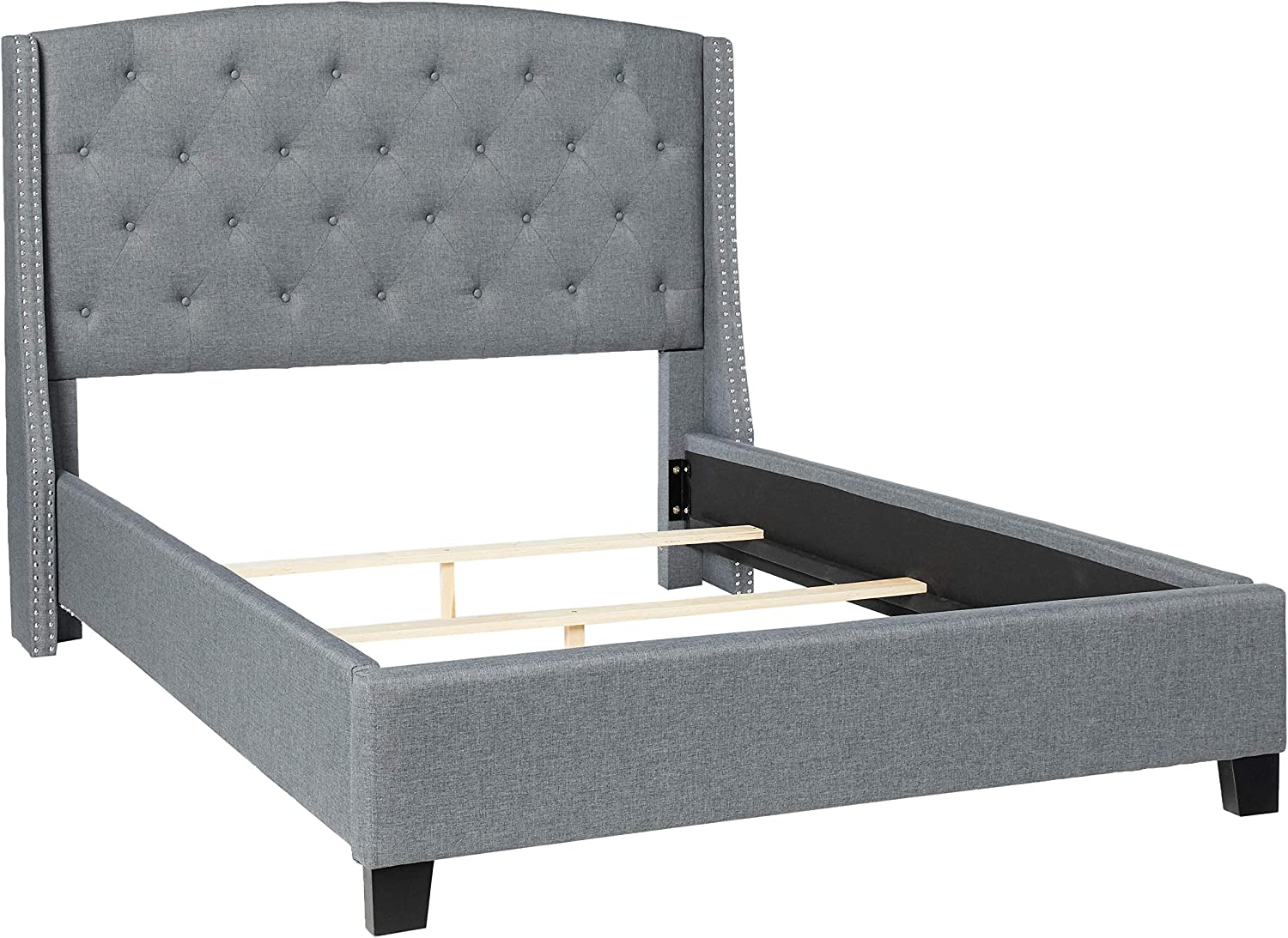 Roundhill Furniture Nantarre Fabric Tufted Wingback Upholstered Bed with Nailhead Trim, Queen, Gray