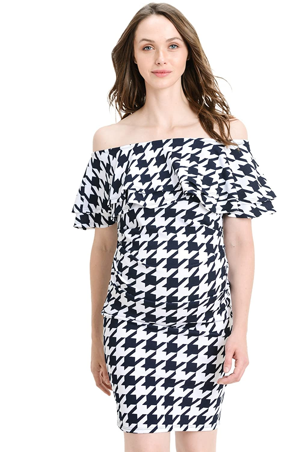 LaClef DRESS レディース B07FV18B87 X-Large|D.navy Houndstooth D.navy Houndstooth X-Large