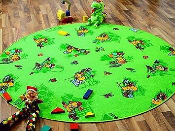 Kinder Spielteppich Bärenwelt Grün Rund in 7 Größen