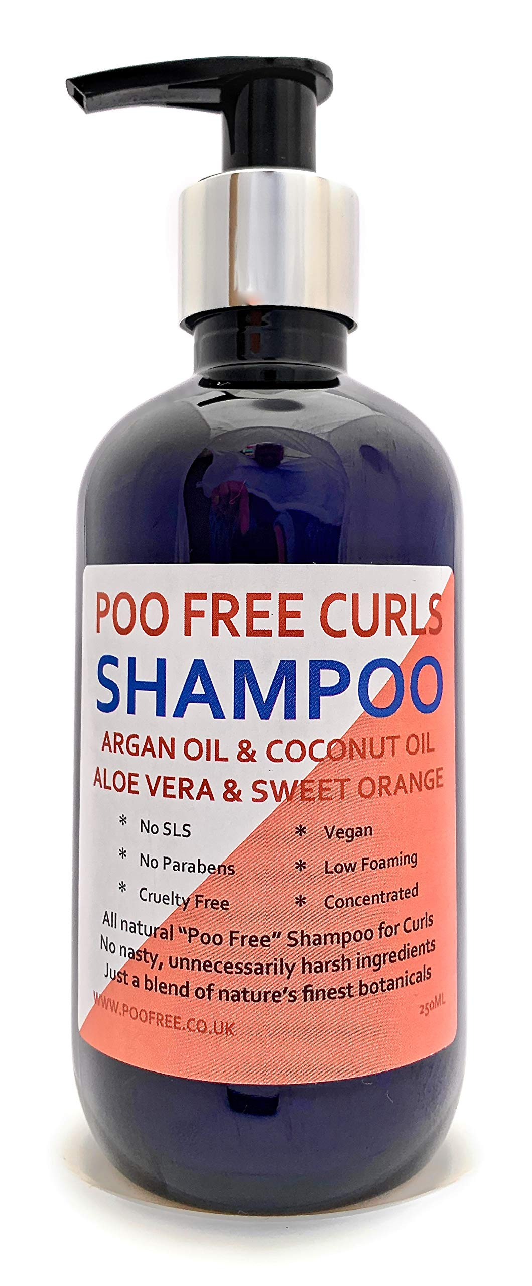 Natural Shampoo Curly Hair Formulation With Argan Oil Coconut Oil Sweet Orange 250ml By Poo Free No Sulfates No Parabens No Silicones Low Lather Gentle Concentrated Buy