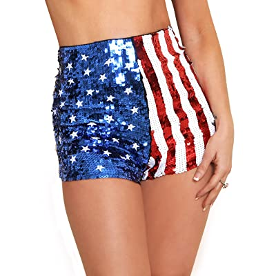 Arsimus USA Patriotic Star & Stripes Sequins Shorts | Amazon.com