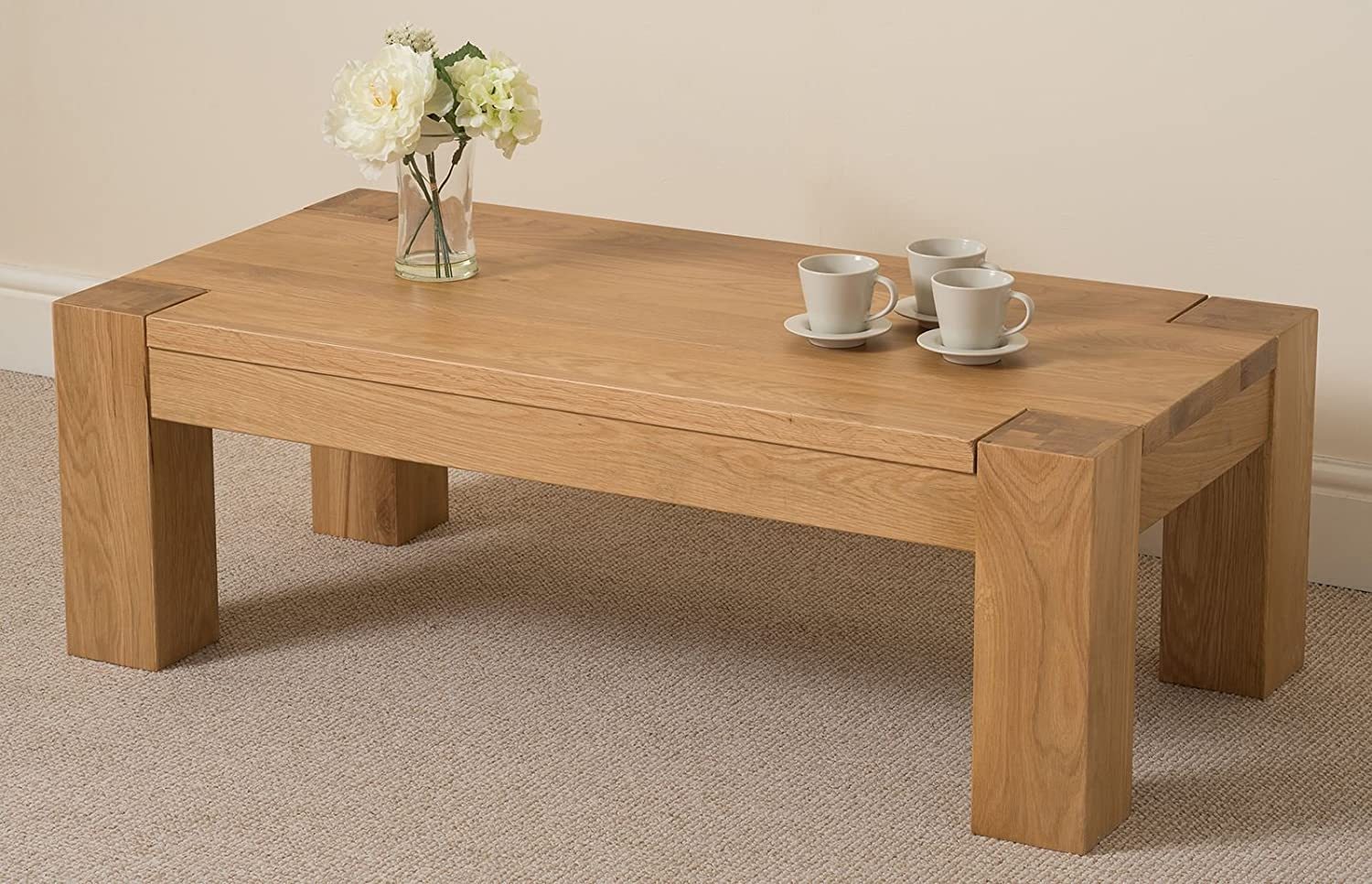 Kuba Chunky Solid Oak Large 120 X 40 60 Cm Coffee Table