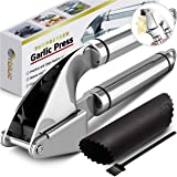 ORBLUE Garlic Press, Stainless Steel Mincer and Crusher with Garlic Rocker and Peeler Set – Professional Grade, Dishwasher safe, Rust-proof
