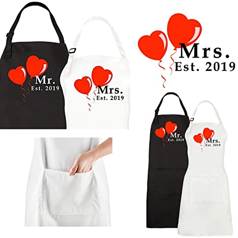 a71c4bf271 Amazon.com: Mr. and Mrs. Aprons Est. 2019 His Hers Bridal Shower Gift Set Couples  Wedding Engagement Gifts for Hubby Wifey Bride Groom: Kitchen & Dining