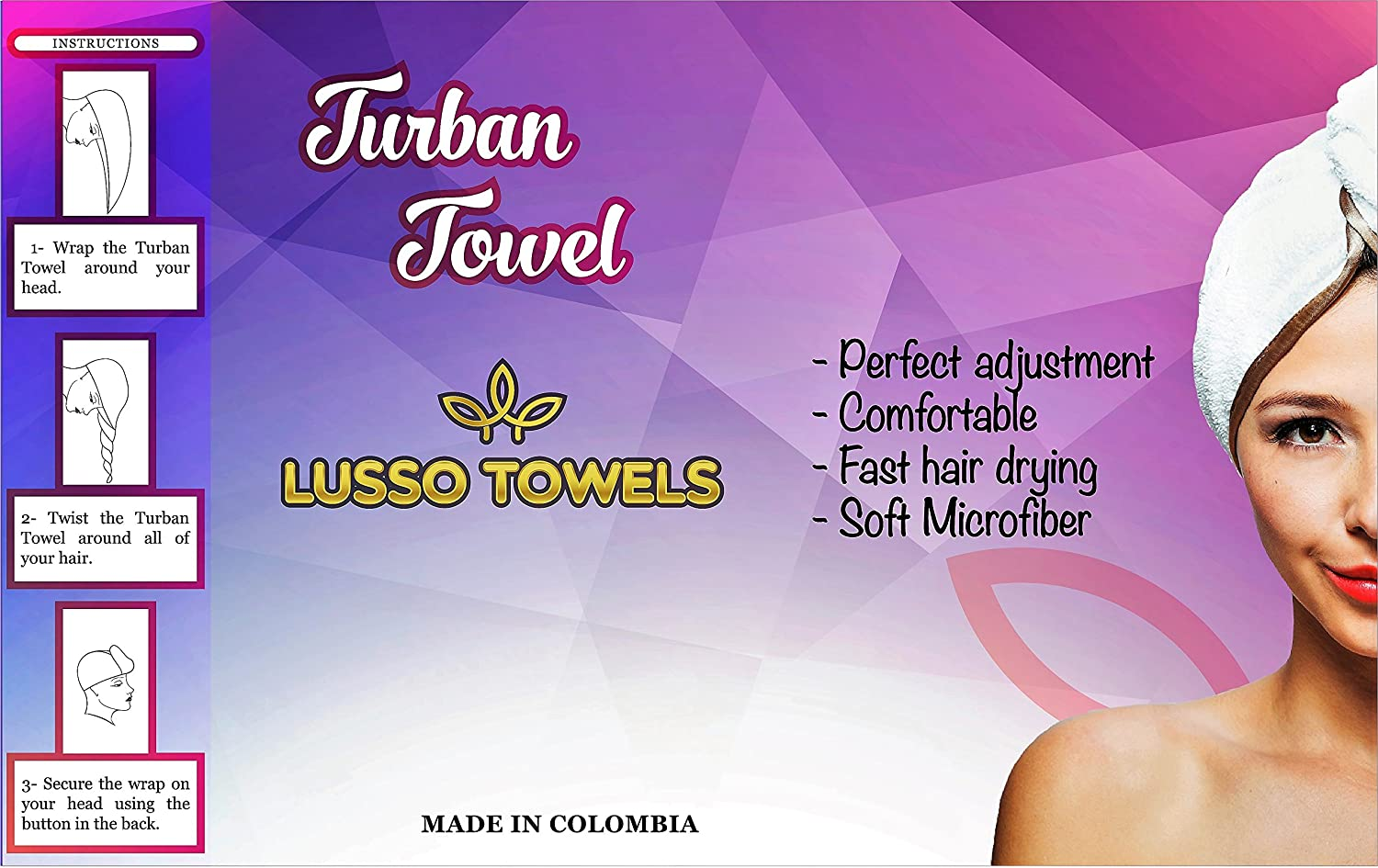 Amazon.com: Microfiber Turban Towel by Lusso Towels – Elegant design – Ultra-light – Microfiber Turban Towel To Protect Your Beautiful Hair: Home & Kitchen