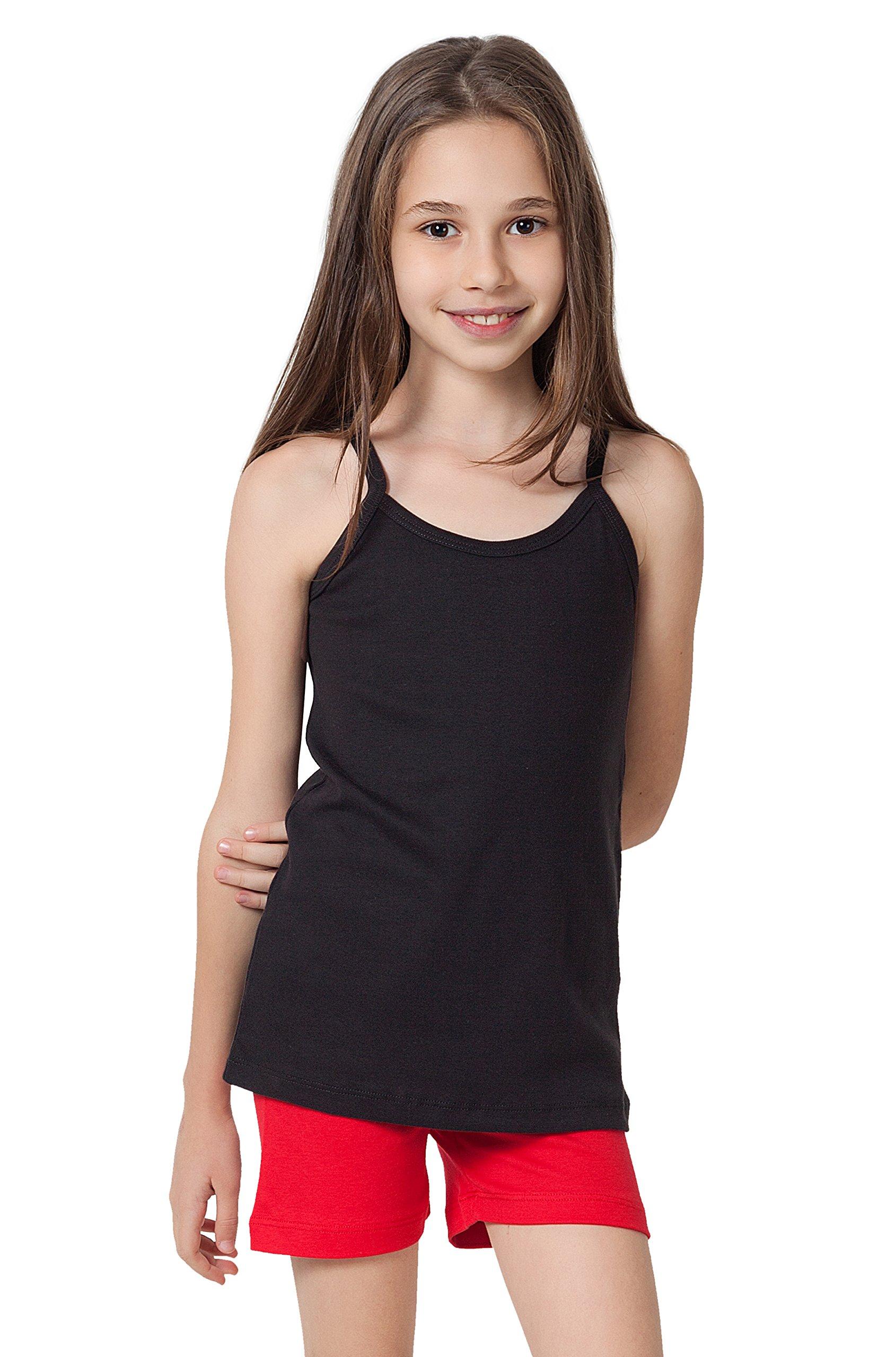 CAOMP Girls Camisole%100 Organic Cotton Undershirt Tank Tee Top (Pack of 2) (9-10, Black-White)