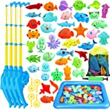 TOY Life Magnetic Fishing Game for Toddlers with 4 Toy Fishing Pole, Toy Fish, Inflatable Play Area - Fishing Bath Toy, Water