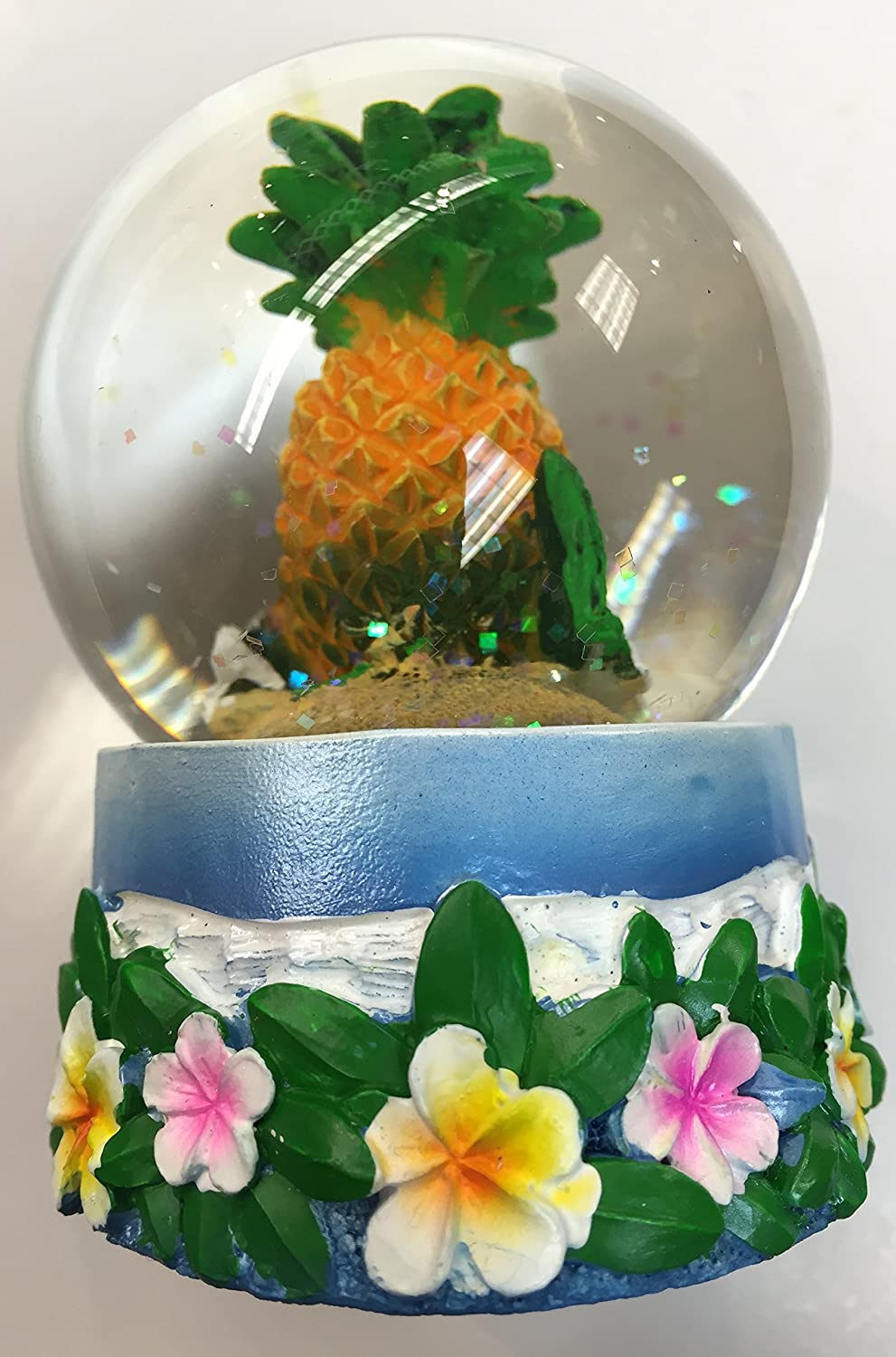 Snow Globe Pineapple with Plumeria Hawaiian Design 65 MM