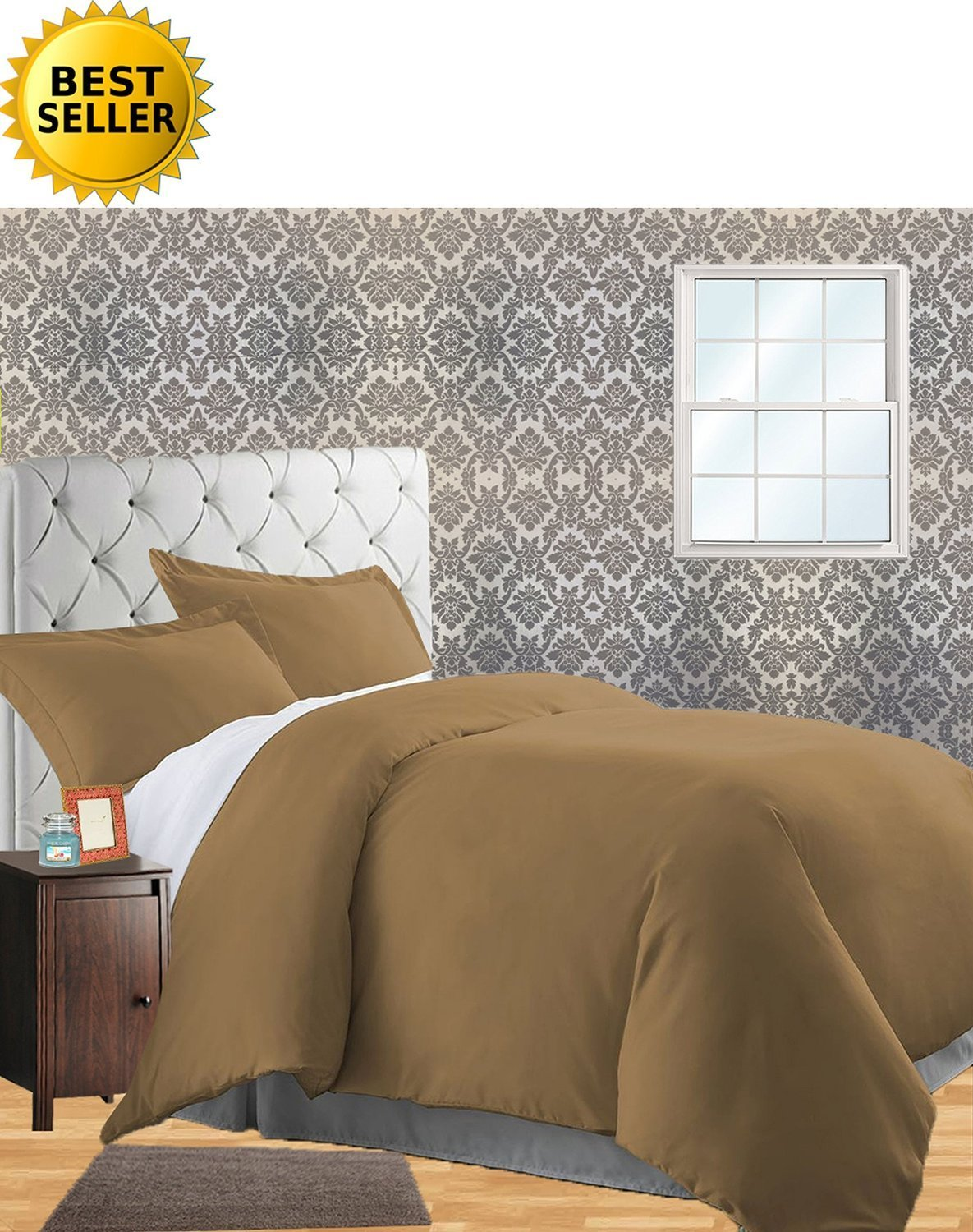 (King/California King, Mocha Chocolate) Celine Linen Wrinkle & Fade Resistant 3-Piece Duvet Cover Set Protects and Covers your Comforter / Duvet Insert, 1500 Series LUXURIOUS 100% HypoAllergenic Super Silky Soft, King/Cali King, Mocha Chocolate B01F0I3JR2 King/California King|モカチョコレート モカチョコレート King/California King