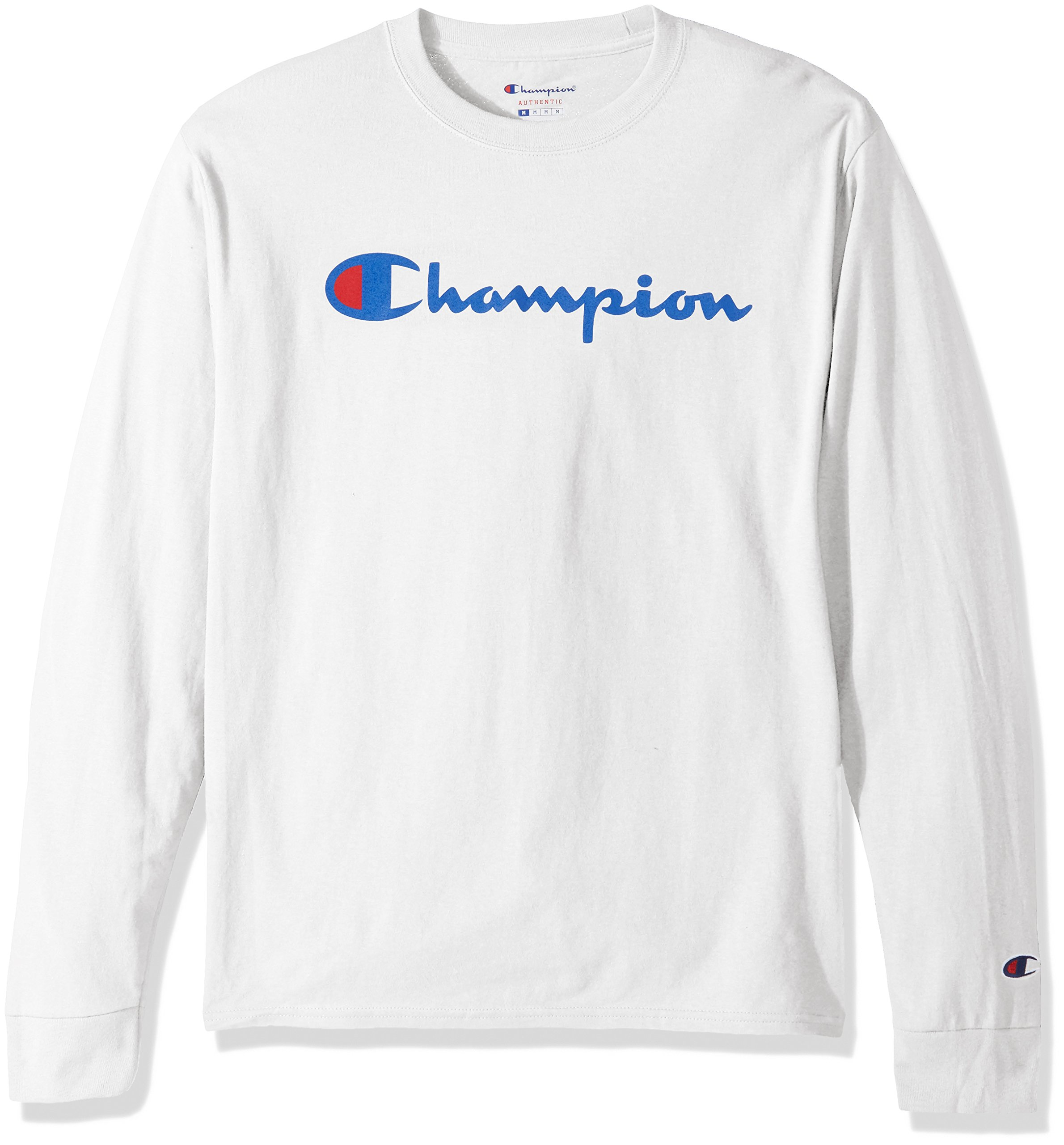 Champion LIFE Men's Cotton Long Sleeve Tee, White/Patriotic Script, Medium by Champion LIFE