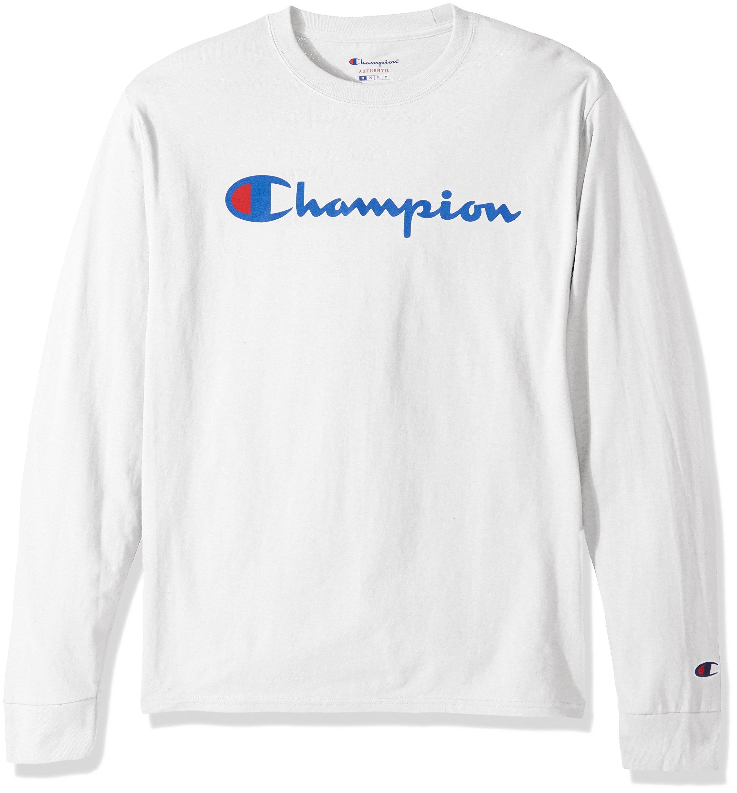 Champion LIFE Men's Cotton Long Sleeve Tee, White/Patriotic Script, Medium