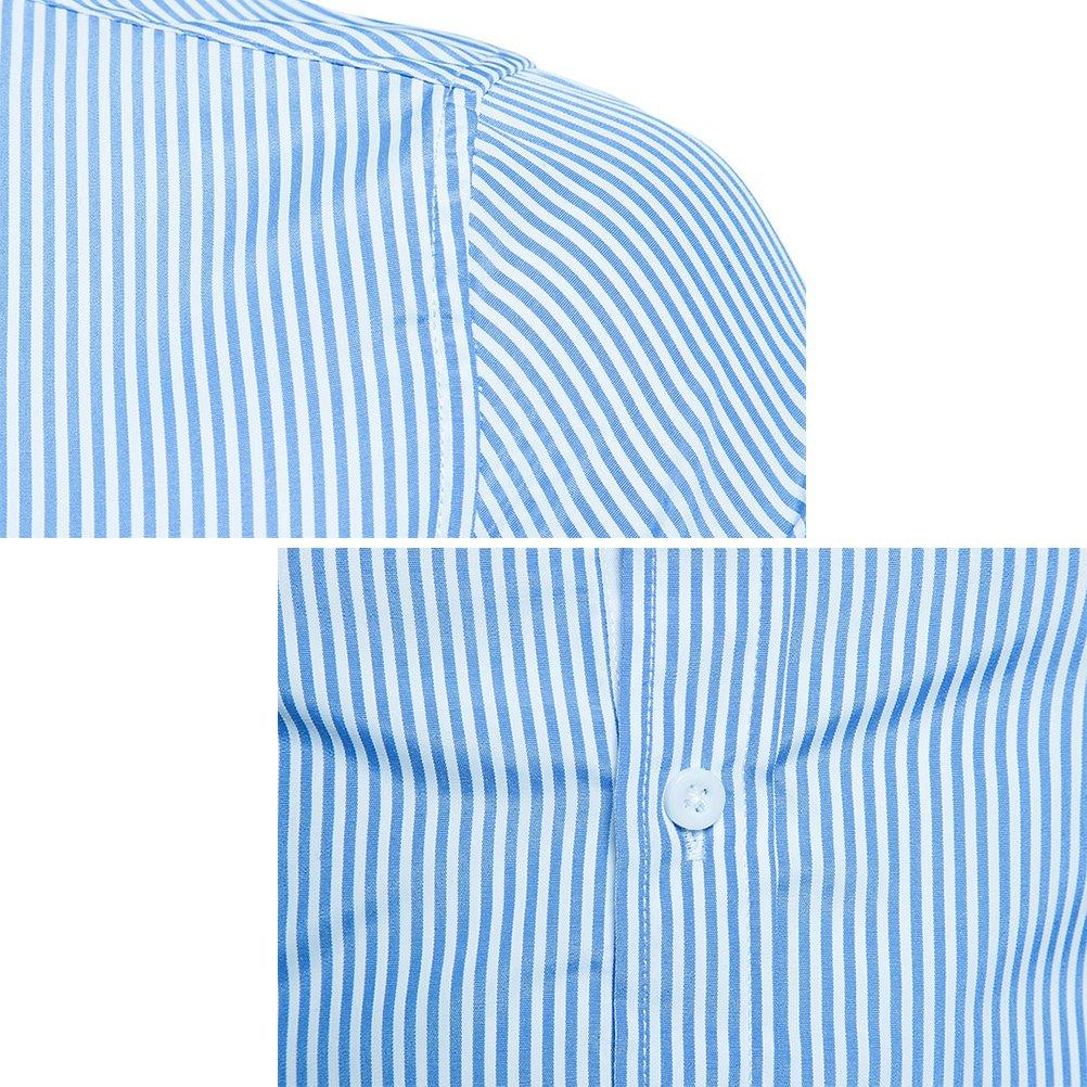 Zhuhaitf Mens Boyfriend Long Sleeve Shirts Stripe Formal Casual Christmas Gift