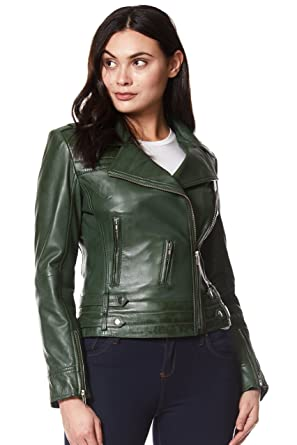 68480323a Ladies Leather Jacket Green/Red Designer Fashion Biker Style Real ...