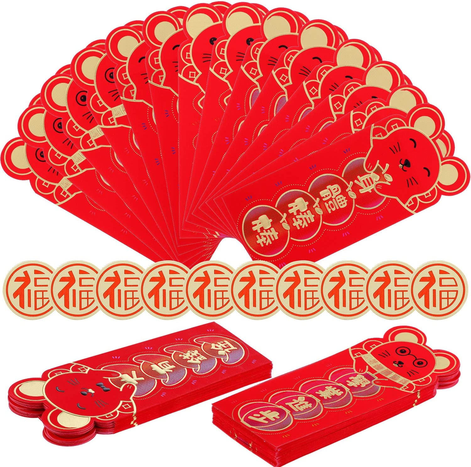 Amazon Com 32 Pieces Chinese New Year Red Envelopes Of 2020 Chinese Rat Year Hong Bao Lucky Money Pockets Or Spring Festival New Year Office Products