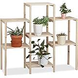 Relaxdays Pflanzenregal Holz, für Innen, stabil, rustikal, rostfrei, massiv, Blumenregal, HxBxT: 86 x 95 x 29 cm, natur