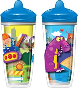 Playtex Sipsters Stage 3 Spill-Proof, Leak-Proof, Break-Proof Insulated Spout Sippy Cups for Boys - 9 Ounce - 2 Count
