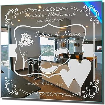 30x30cm Motivspiegel Hochzeit 9 Spiegel mit Gravur Geschenk zur Hochzeit Wandbild Dekoration