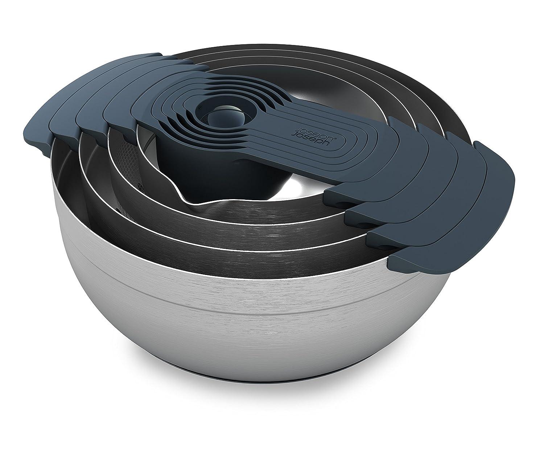 Joseph Joseph 95005 Nest 9 Stainless Steel Compact Nesting Mixing Bowl Set Measuring Tools Sieve Colander Food Prep Dishwasher Safe Non-Slip, 9-Piece, Silver