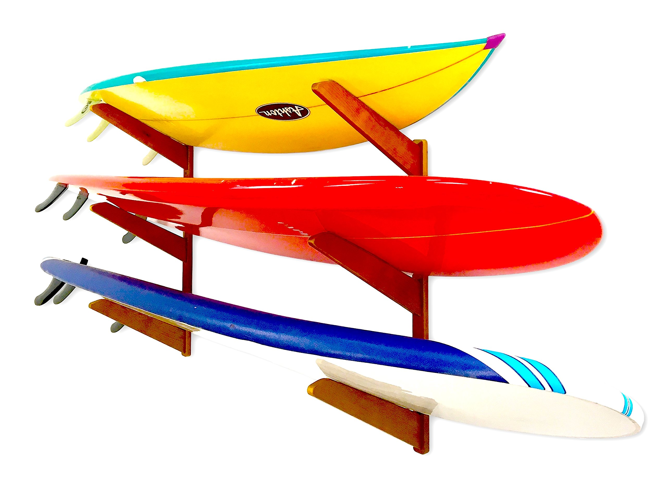 StoreYourBoard Timber Surfboard Wall Rack, Holds 3 Surfboards, Wood Home Storage Mount System, Cherry