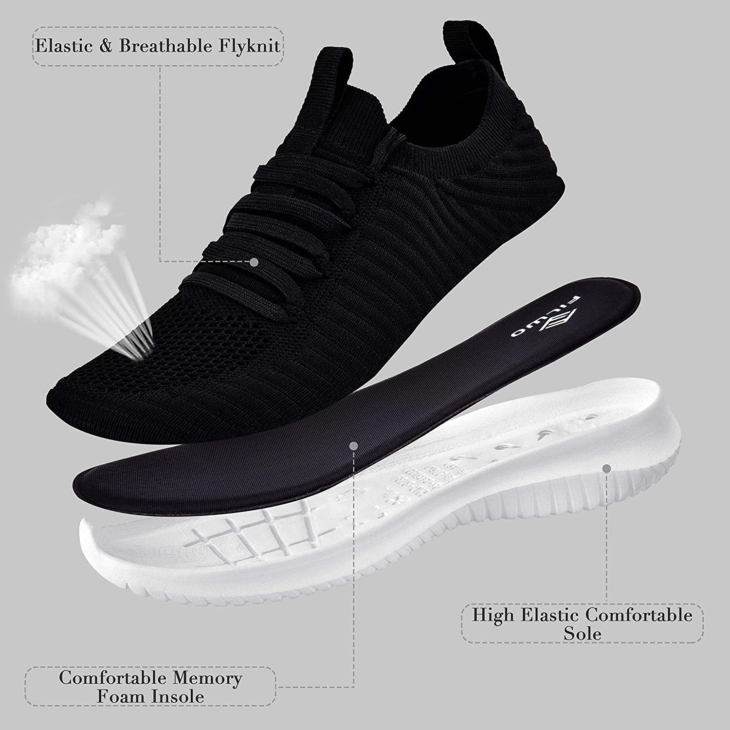 Mens Lightweight Lace Up Running Memory Foam Comfort Sports Shoe Trainer Size