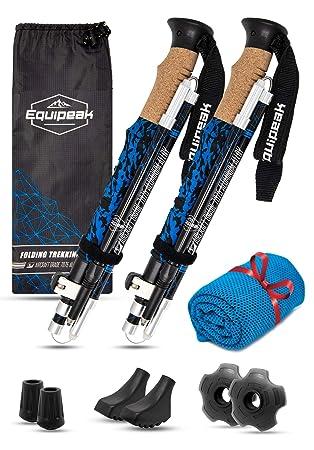 Equipeak Collapsible Folding Hiking Trekking Sticks – 2 Aluminum Walking Poles with Real Cork EVA Handle Grip Set – Ultra Strong Locking – for Men Women