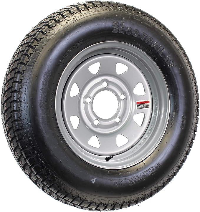 ST205//75D14 Loadstar Trailer Tire LRC on 5 Bolt White Mod Wheel