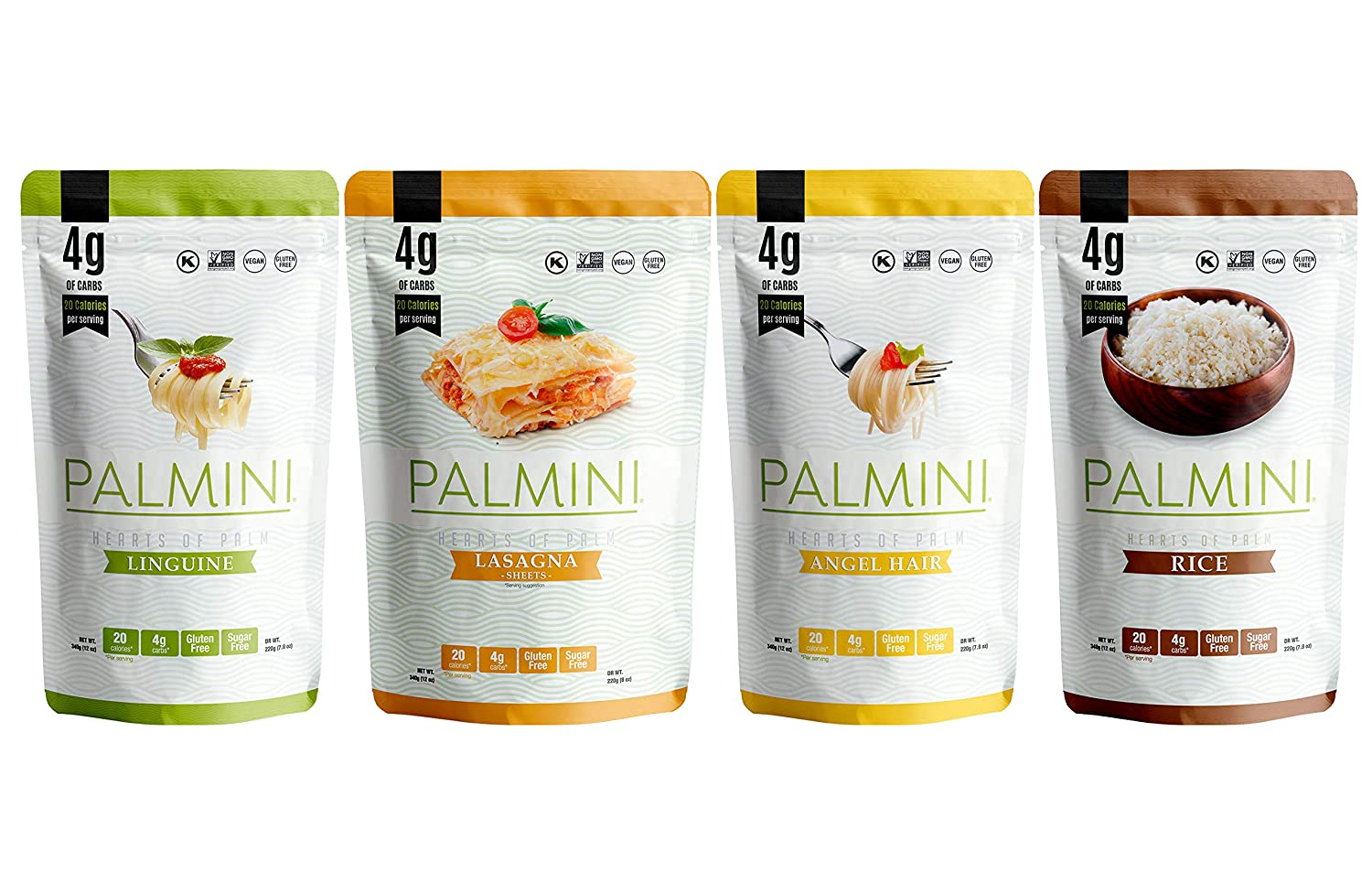 NEW !! Palmini Pouch VARIETY PACK   Linguine   Angel Hair   Lasagna   Rice   4g of Carbs   As Seen On Shark Tank   Gluten Free (12 Ounce (Pack of 4))