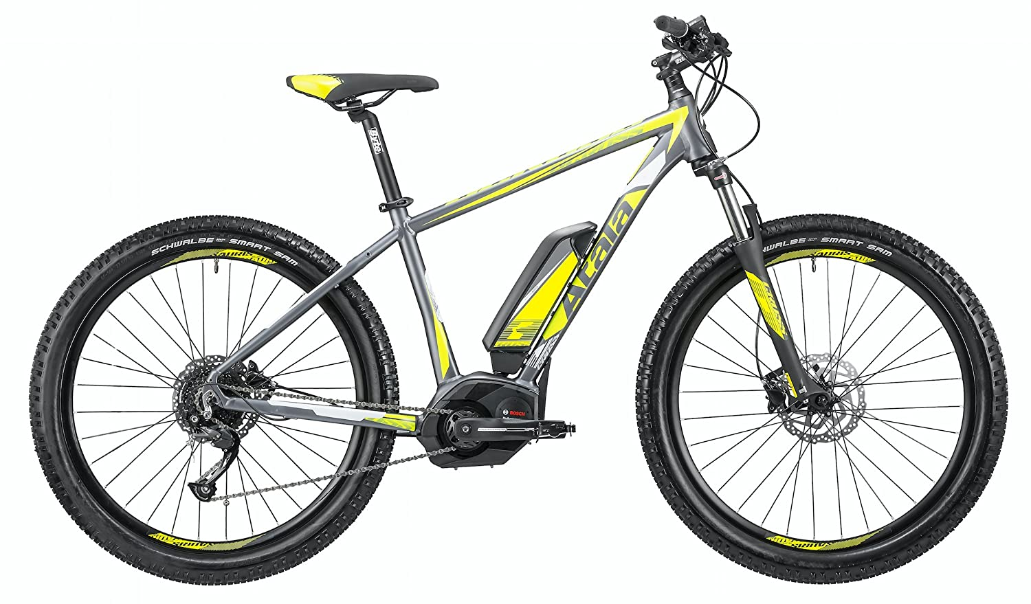 Mountain Bike eléctrica EMTB con pedalada assistita Atala b-cross CX 500 9 velocidad, color antracita - Amarillo Mate, Tamaño S-16 (150 - 170 cm): ...