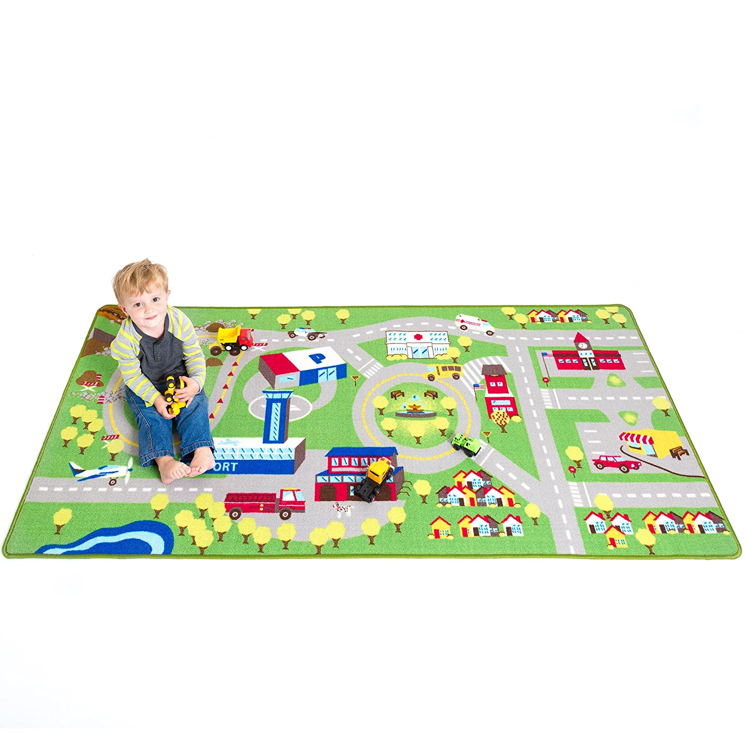 amazoncom kids play car rug community carpet mat large 78 x 39 home kitchen