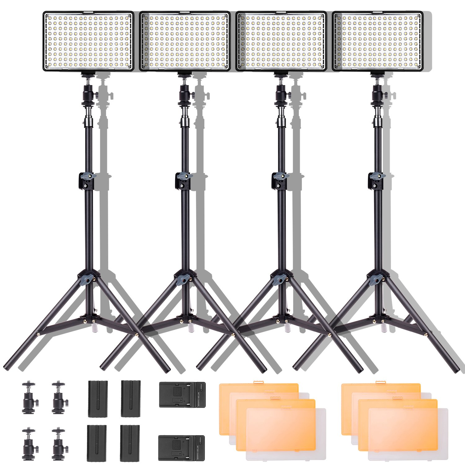 Led Video Light Kit,SAMTIAN 160 LED Studio Light Dimmable Video Camera Light Panel with Battery Charger Light Stand Mini Ball Head and Carry Case for Digital DSLR Cameras (TL-160S x4 kit) by SAMTIAN
