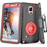 BENTOBEN Case for Galaxy Note 4, Shockproof Heavy Duty Rugged Hard PC Soft Rubber with Kickstand Belt Clip Holster Hybrid Ful