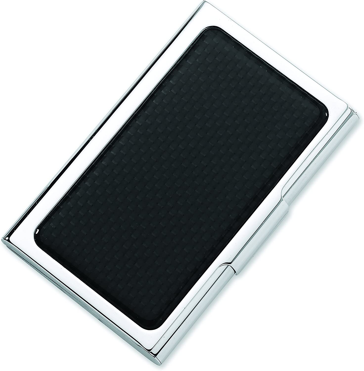 Mens Stainless Steel Slim Business//Credit Card Case Holder with Carbon Fiber Accent