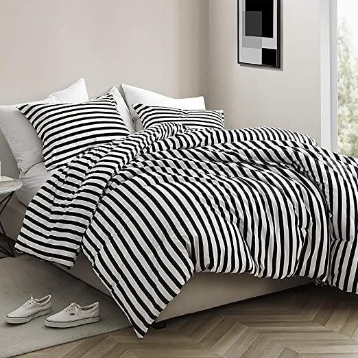 Amazon Com Byourbed Onyx Black And White Striped Oversized King