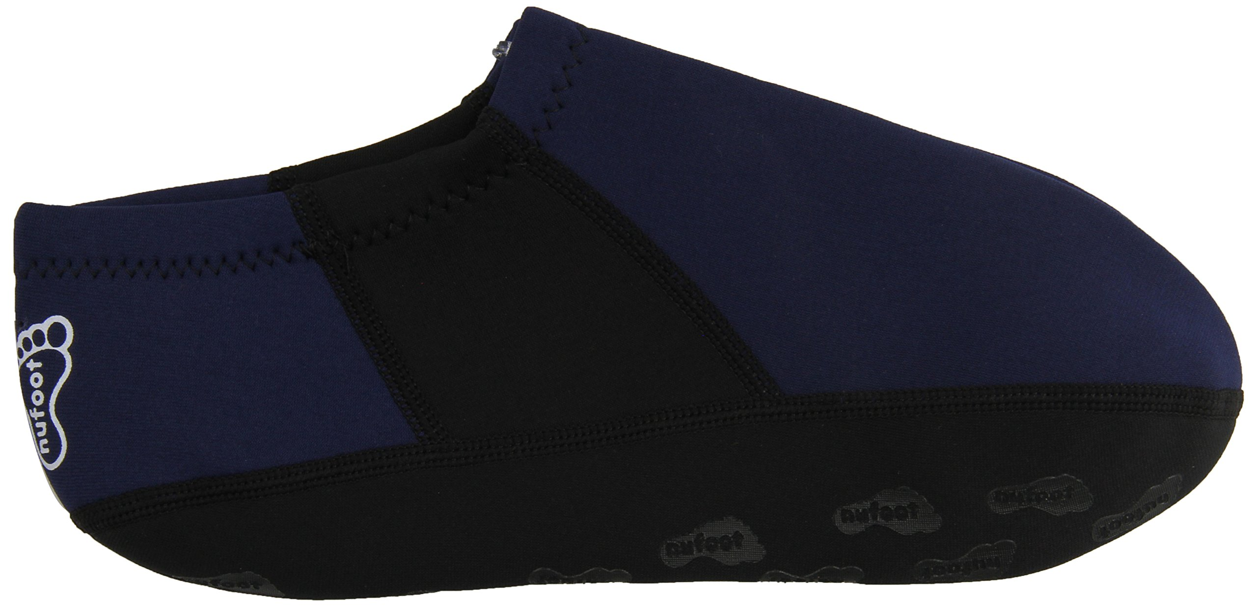 NuFoot Booties Men's Shoes, Best Foldable & Flexible Footwear, Fold and Go Travel Shoes, Yoga Socks, Indoor Shoes, Slippers, Navy Blue with Black Stripes, Extra Large