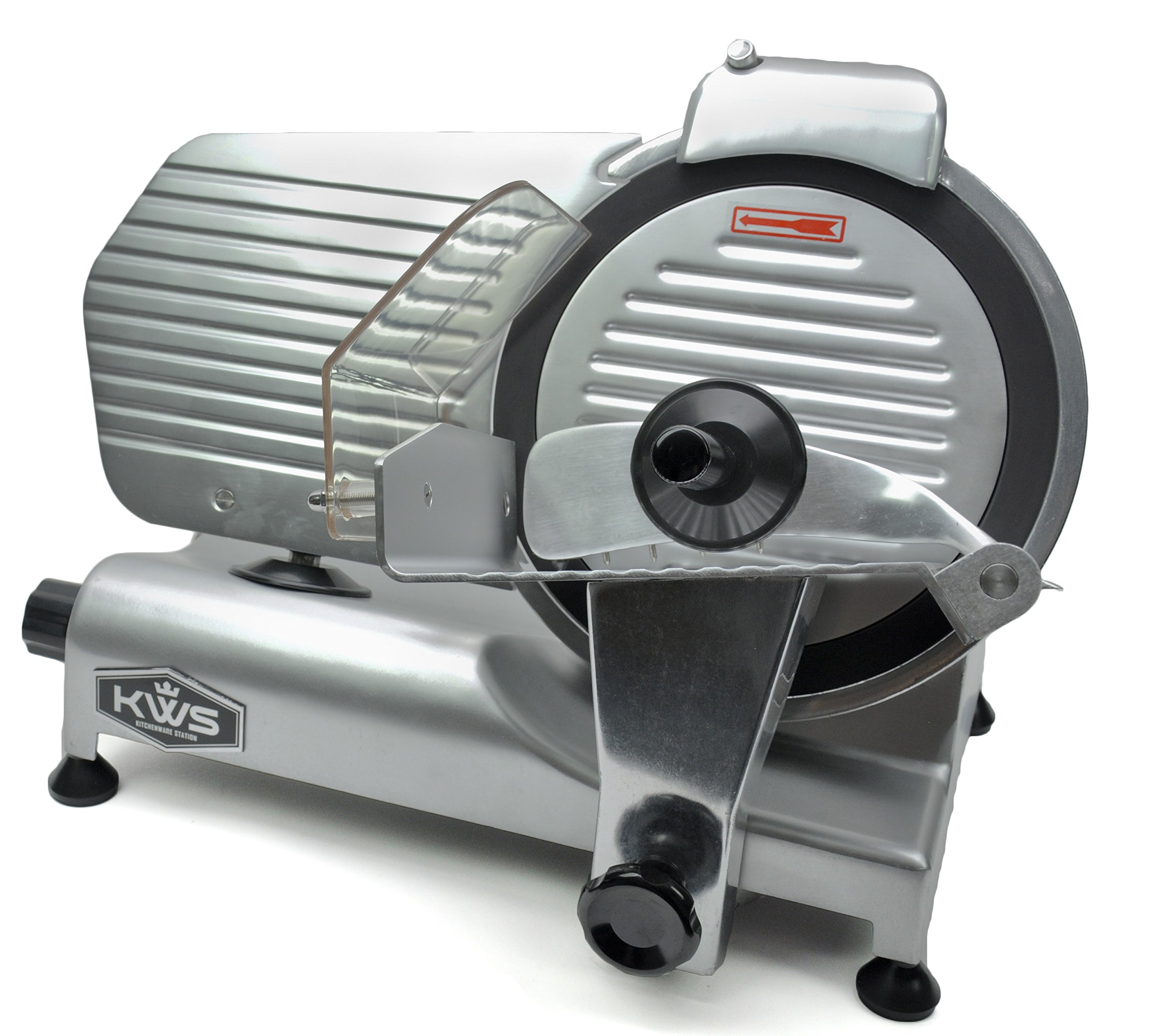 KWS Premium Commercial 320w Electric Meat Slicer 10'' with Non-sticky Teflon Blade, Frozen Meat/ Cheese/ Food Slicer Low Noises Commercial and Home Use