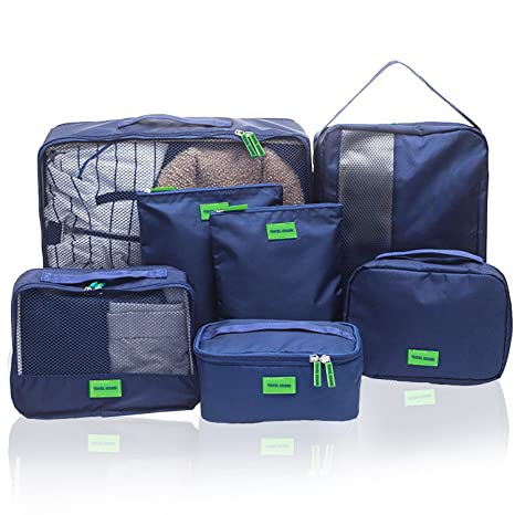 Hiveseen 7 En 1 Bolsas Organizador De Maletas Viaje, Packing Cube Nylon Impermeable, Organizar Equipaje Y Mochila Para Guardar Ropa, Ropa Interior, ...