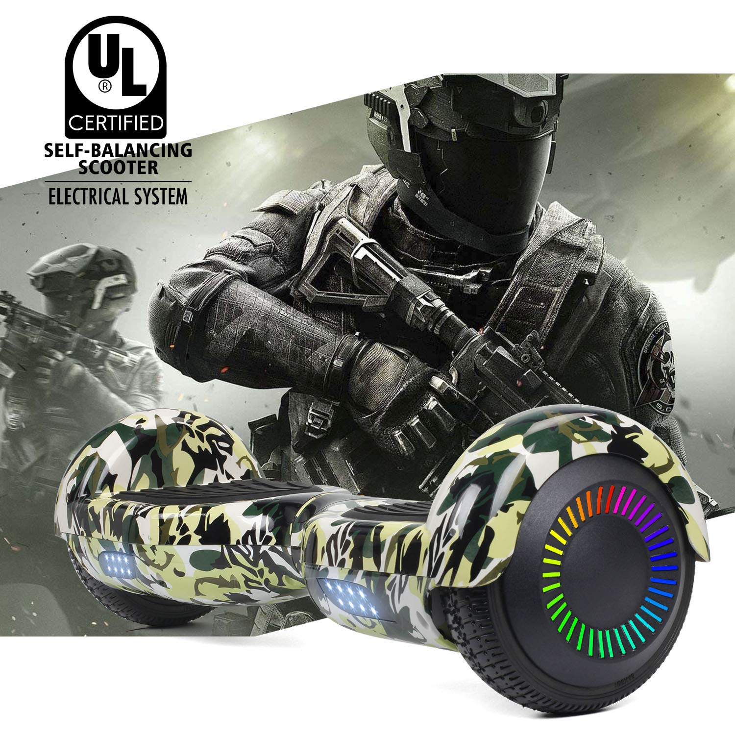 SISIGAD Hoverboard Self Balancing Scooter 6.5'' Two-Wheel Self Balancing Hoverboard with LED Lights Electric Scooter for Adult Kids Gift UL 2272 Certified Fun Edition - Woodland Camo by SISIGAD (Image #7)