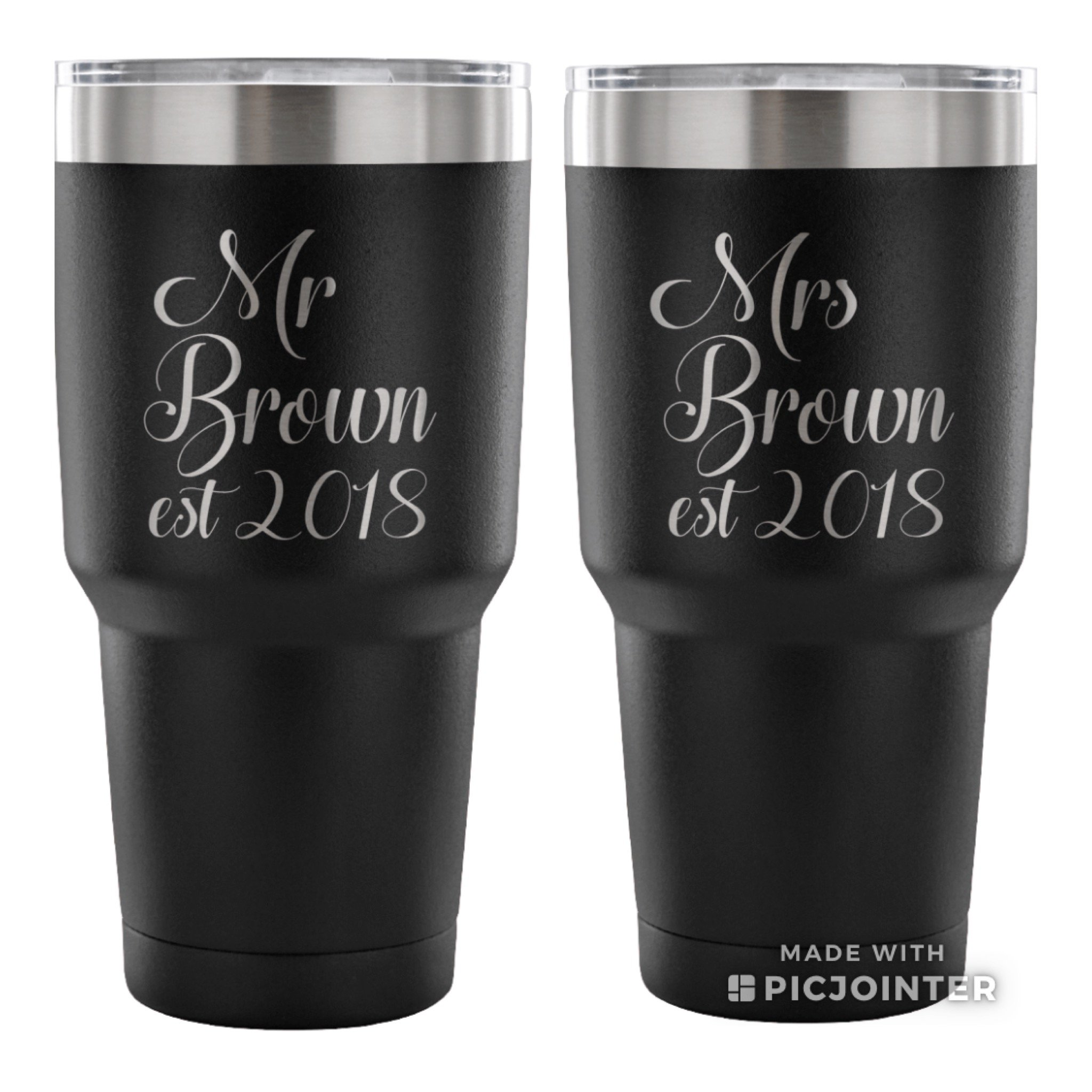 Customized Newly Wed Tumbler Gift - Wedding Gifts For Couple - Gifts For Anniversary - Mr Mrs Powder Coated Tumblers - Wedding Presents - Bridal Shower Gift