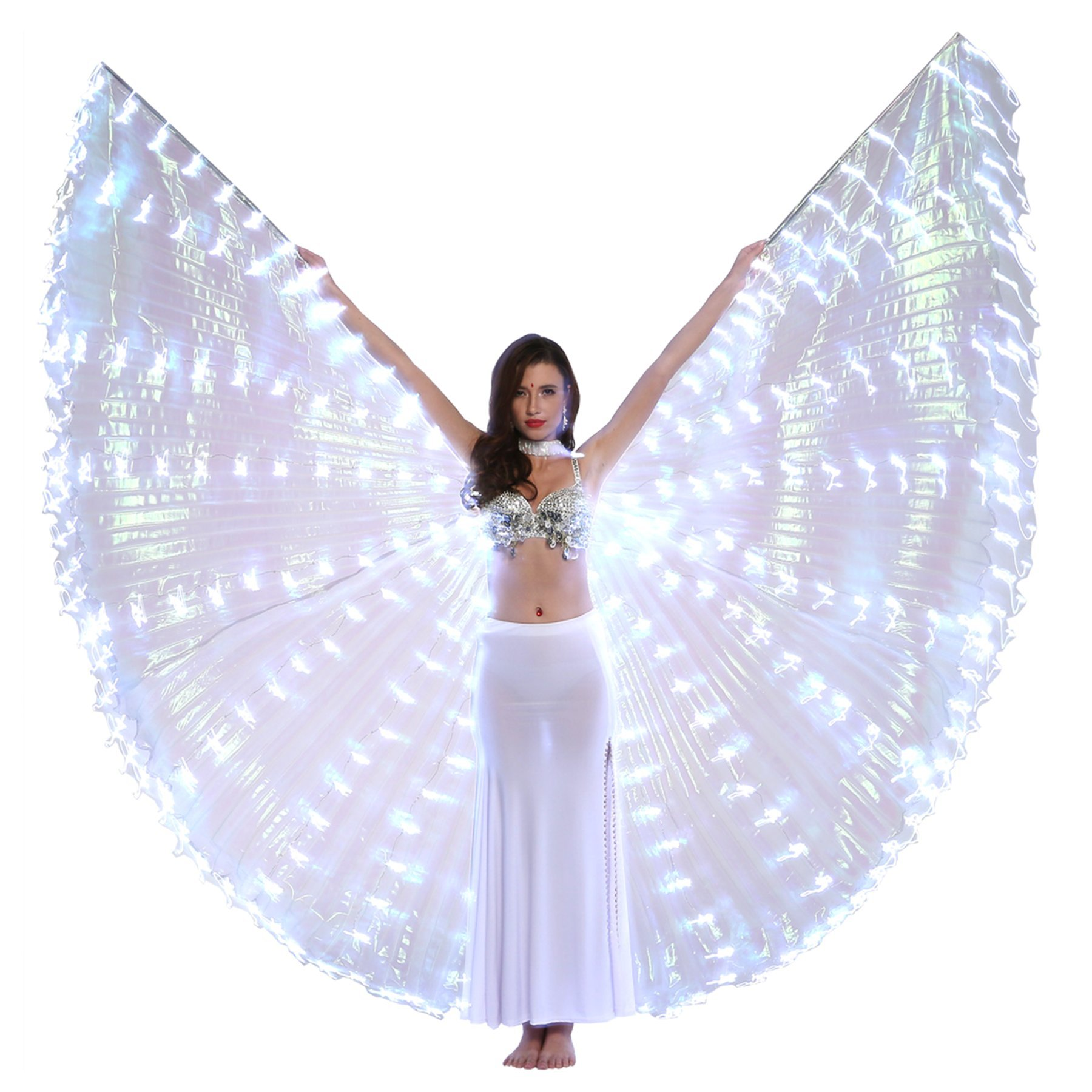 Dance Fairy Belly Dance LED Isis Wings with Stick(White) by Dance Fairy