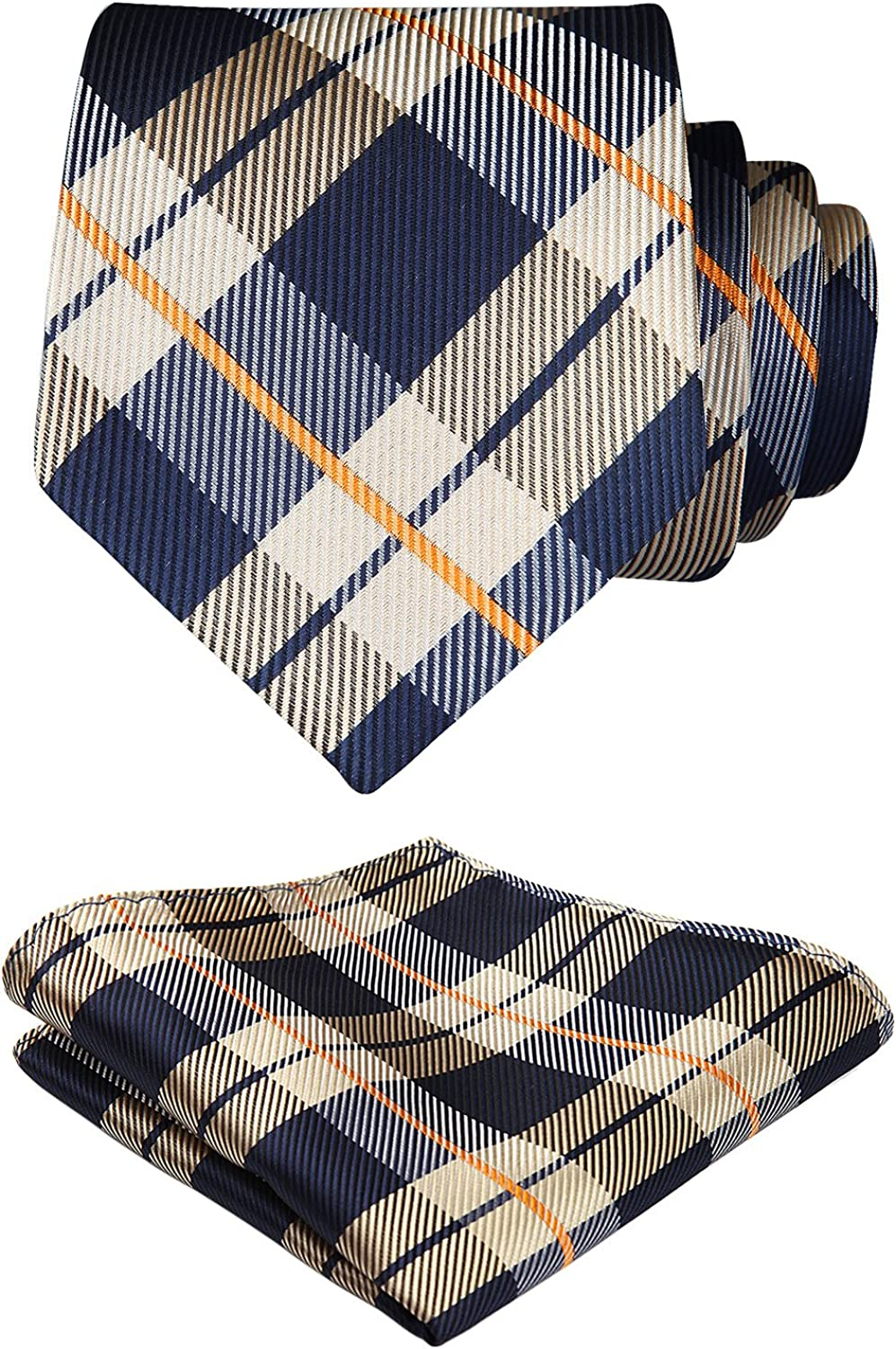 Hand Tailored Wooven Extra Long Neck Tie and Pocket Square