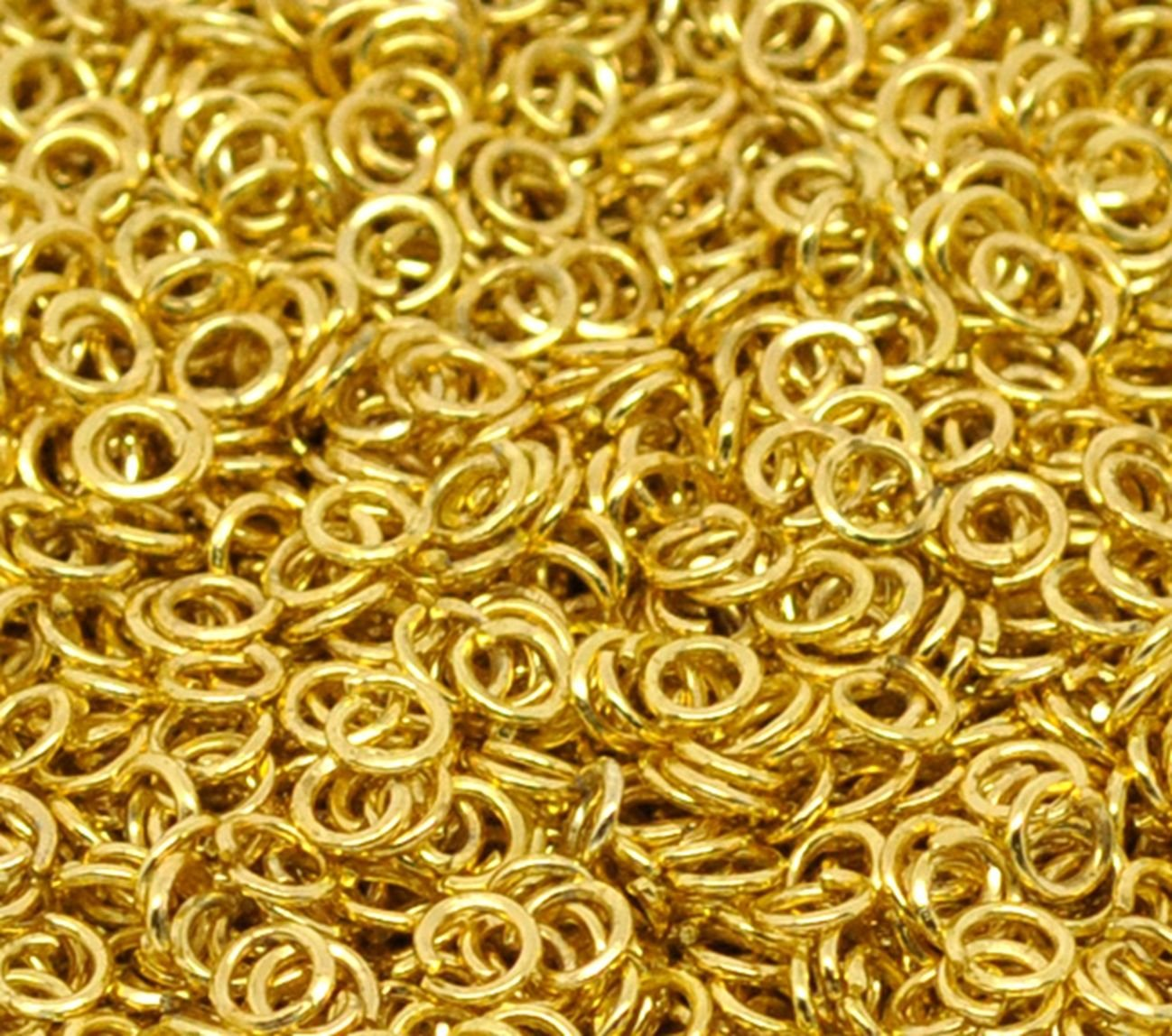 1000 x Gold Plated 4mm Open Jump Rings Jewellery Connector Finding Craft Beading. For Art and Crafts.